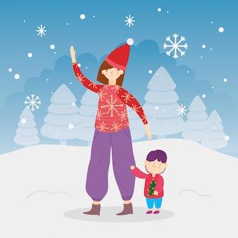 メリークリスマスママと息子の木雪雪屋外