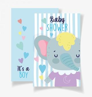 かわいい象の男の子ベビーシャワーカード