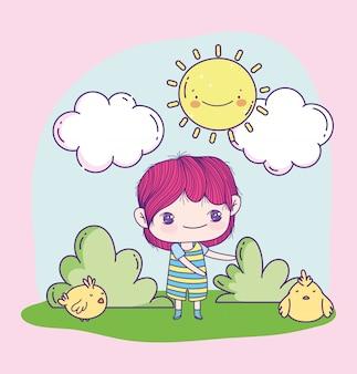 Аниме милый мальчик и куры в траве
