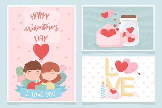 Счастливый день святого валентина счастливый день святого валентина милая пара с воздушным шаром сердце сообщение набор любовных карт