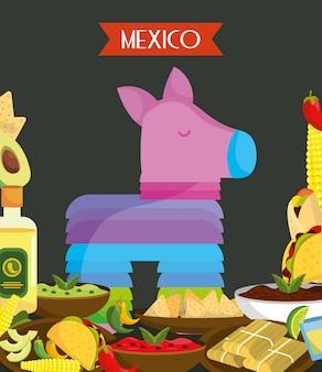 カラフルなピニャータと食品メキシコ伝統的なイベント装飾ベクトルカード