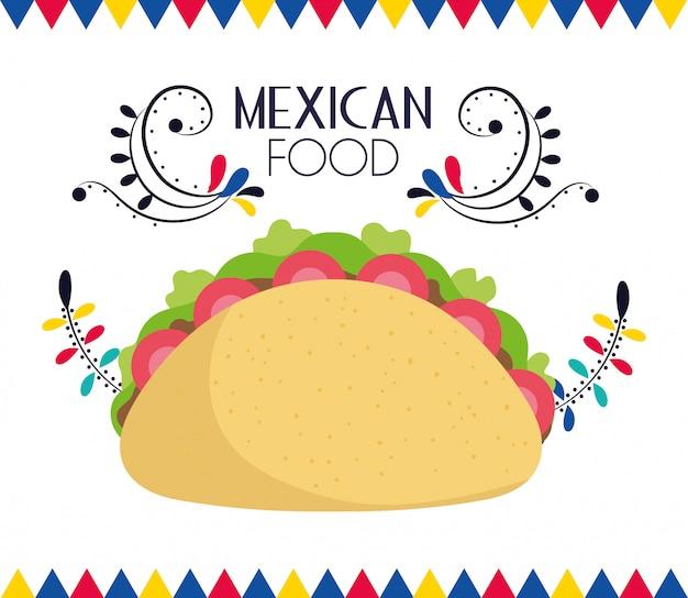 おいしいタコスメキシコ料理、伝統的なお祝いデザインベクトルカード