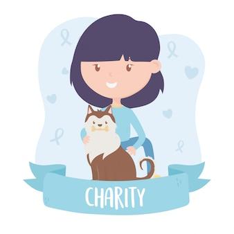 Волонтерство, помощь благотворительной подростковой женщине с баннером спасения собак