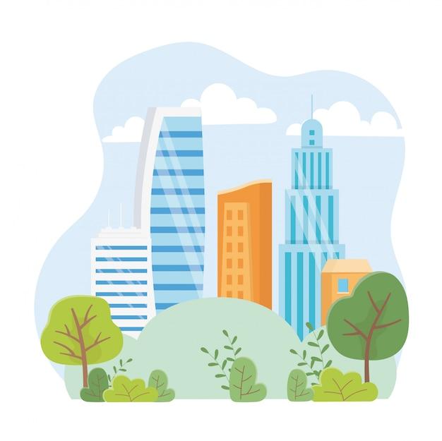 都市生態学の高層ビル町都市公園シーン