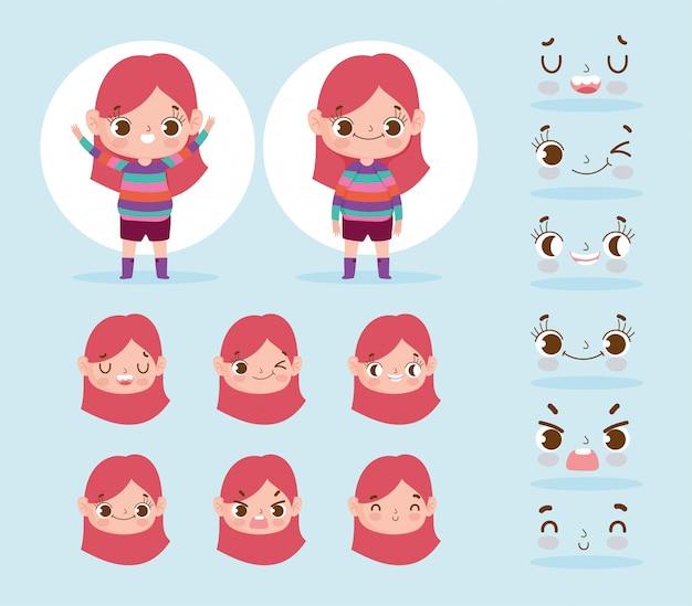 Мультипликационный персонаж анимации маленькая девочка выражает различные лица