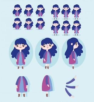 Мультипликационный персонаж анимация маленькая девочка некоторые части тела выражение лица