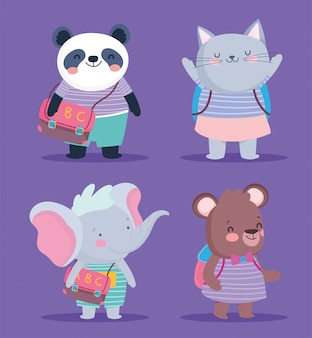 Снова в школу милые животные полосатая одежда и рюкзаки образования