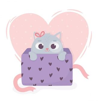ボックスプレゼント愛心で幸せなバレンタインデーのかわいい猫