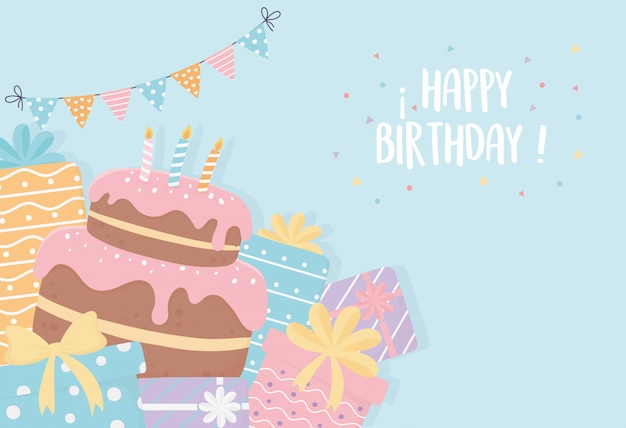Торт ко дню рождения со свечами представляет вымпелы ленточка украшение