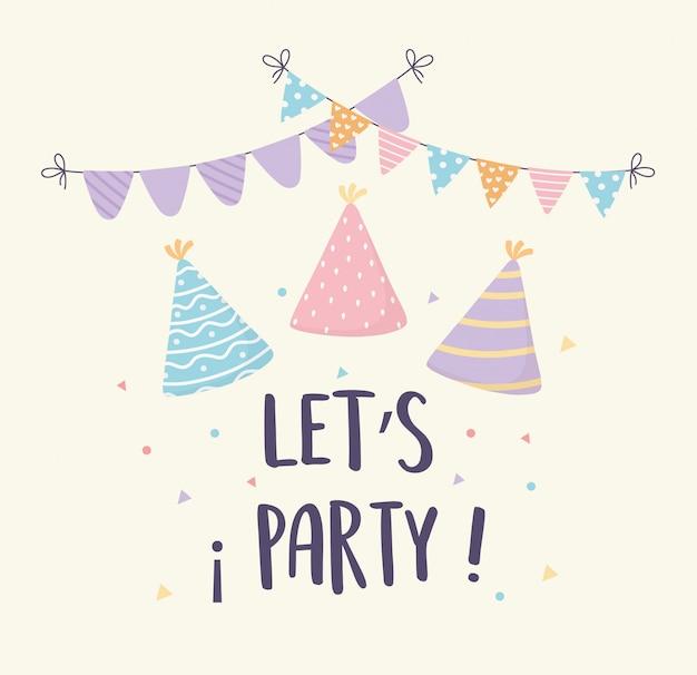 帽子ペナント紙吹雪お祝いお祭りパーティー装飾