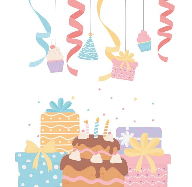 キャンドルでパーティーデコレーションギフトカップケーキハットリボンとギフト誕生日ケーキをぶら下げ