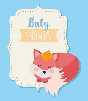 動物漫画を眠っている赤ちゃんシャワーかわいいキツネ