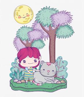 子供、かわいい男の子と猫漫画木草晴れた日