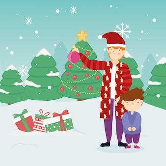 Счастливого рождества отец и сын теплая одежда подарки деревья снег на улице