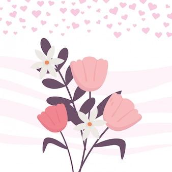 幸せなバレンタインデー、花束の花の装飾の心