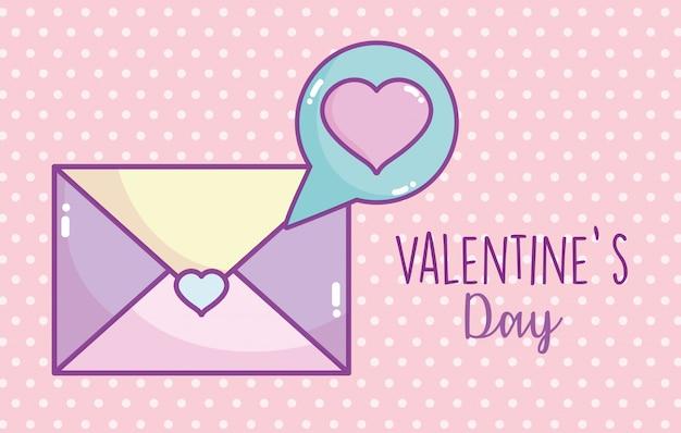 С днем святого валентина, конверт сообщение любовь сердца пузырь
