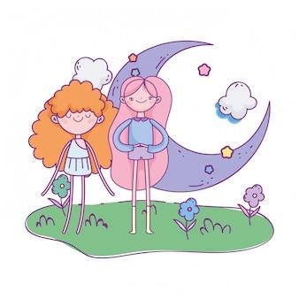 Счастливый день святого валентина, милая девушка и купидон лунные облака трава цветы иллюстрация