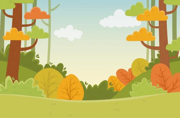 風景植生植物葉木自然紅葉イラスト