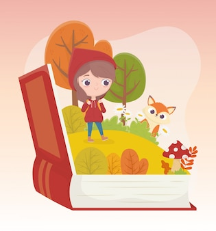 Красная шапочка волк лес трава книга сказка карикатура иллюстрации