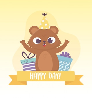 パーティーハットとギフトボックスお祝い幸せな日グリーティングカードとかわいいクマ