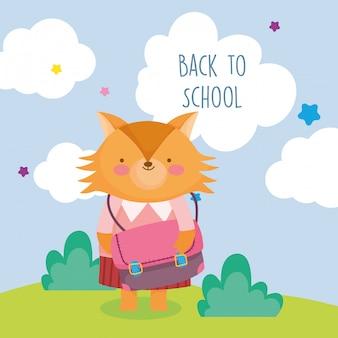 Назад к школьному образованию милая лиса с одеждой и школьной сумкой