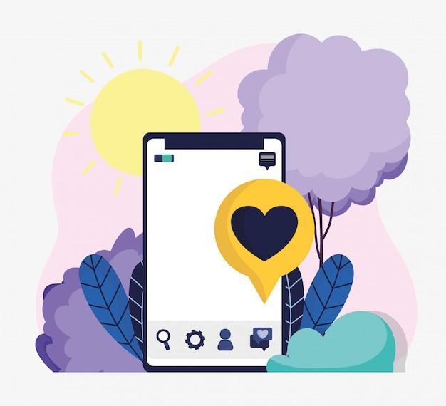 Смартфон речи пузырь любовь романтические социальные медиа