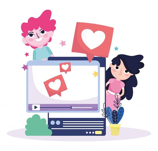 若い女性と男性のウェブサイトスマートフォンチャットソーシャルメディアが大好き