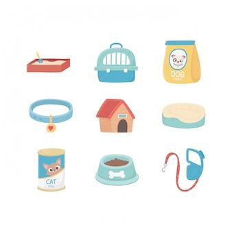 Бытовая песочница, ошейник, постель, пакет с едой, лапы, животные, домашние животные