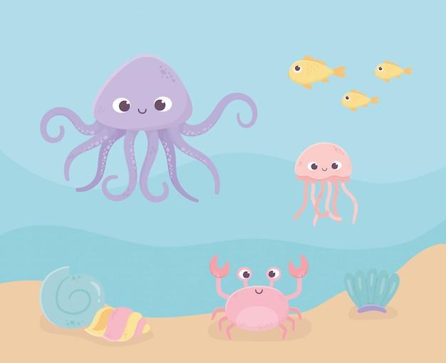 Краб-улитка, медуза, осьминог, рыба, песок, жизнь, мультфильм под морем