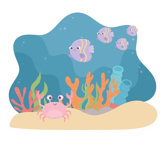 Крабовые рыбки, жизнь, песок, коралловый риф, мультфильм под морем.