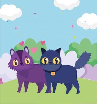 Симпатичные коты в траве любят сердца домашних питомцев
