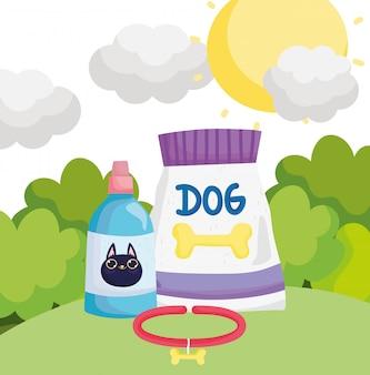 猫のペット用のフードパッケージの犬の首輪と獣医のボトル