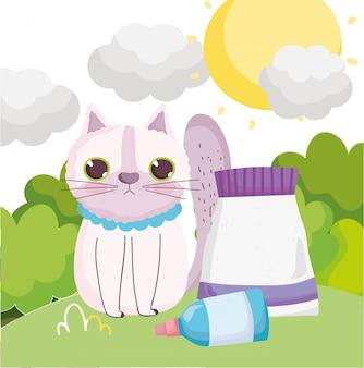 Грустный кот сидит с едой домашних животных