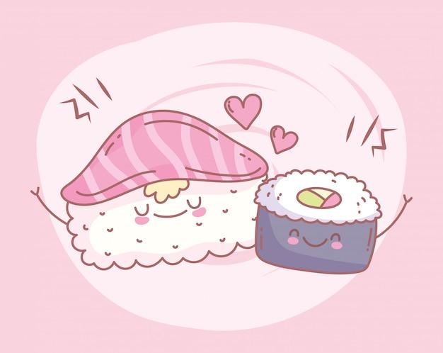 Суши лосось рис ролл меню ресторан еда мило векторная иллюстрация