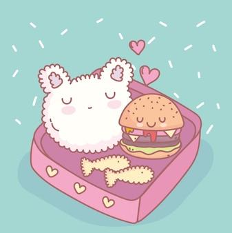 ライスハンバーガー魚メニューレストラン食べ物かわいい