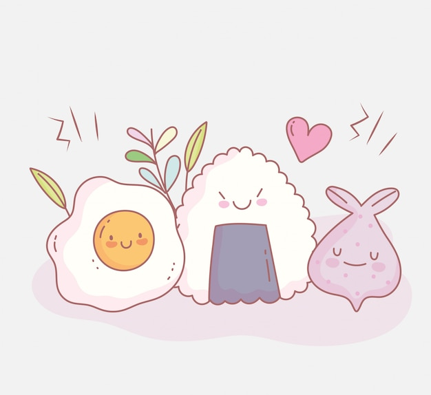 Жареные яйца суши и меню ресторана еда мило