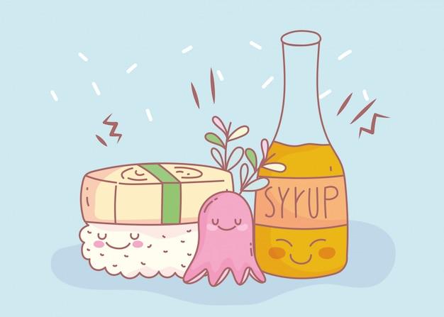 Суши сироп и меню ресторана еда мультфильм