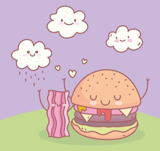 ハンバーガーとベーコンのレストランメニューフードかわいい