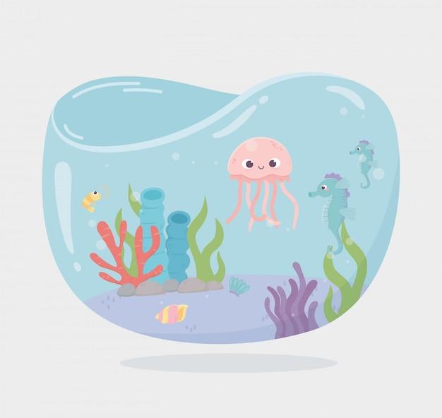 クラゲのタツノオトシゴリーフ水漫画のベクトル図の下の魚の水槽の形