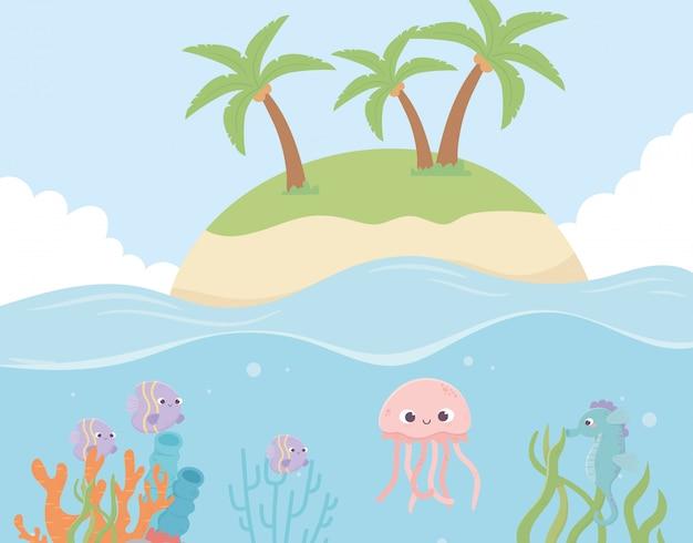 島クラゲ魚サンゴ海のベクトル図の下で