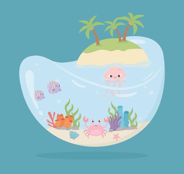 Крабы рыбы медузы морские звезды вода в форме резервуара для рыб под морем мультяшный векторная иллюстрация
