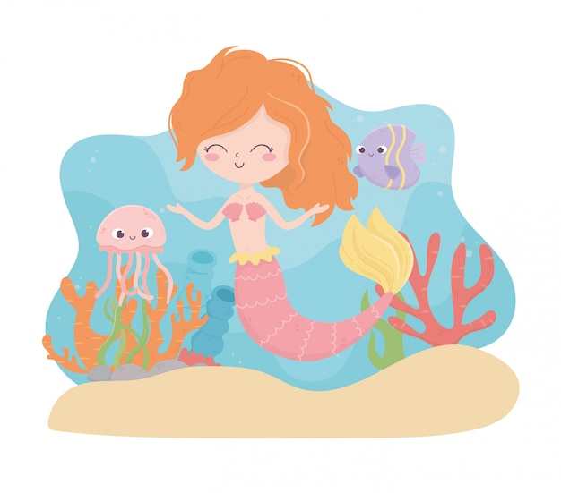 海のベクトル図の下の人魚クラゲ魚サンゴ砂漫画