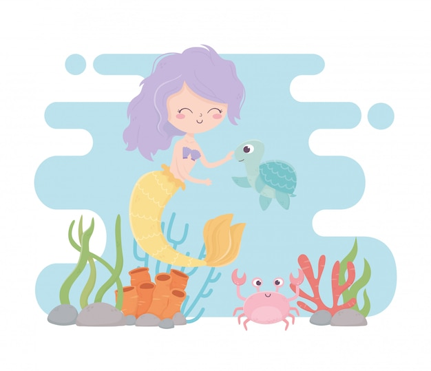 Русалка черепаха краб коралловый риф скалы мультфильм под морем векторная иллюстрация