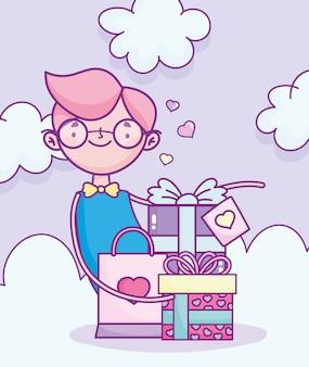 幸せなバレンタインデー、ギフトとショッピングバッグのお祝いロマンチックなベクトル図を持つ少年