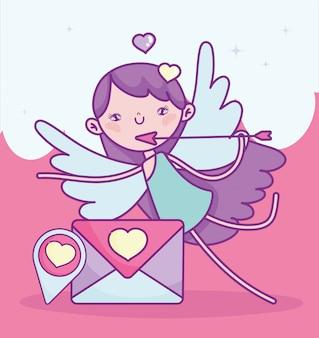 幸せなバレンタインデー、矢印とキューピッド送信手紙ピン先愛ベクトルイラスト