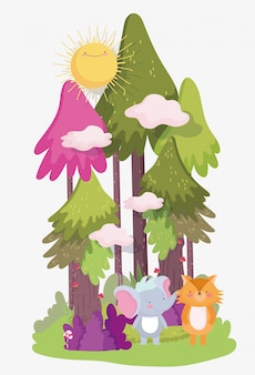 小さな象とキツネの漫画のキャラクターの森の葉の自然