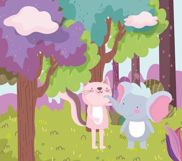 小さなピンクの猫と象の漫画のキャラクターの森の葉の自然