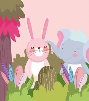 小さな象とウサギの漫画のキャラクターの森の葉の自然