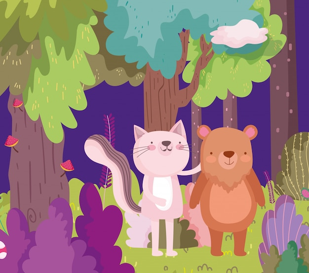 Маленькая розовая кошка и медведь мультипликационный персонаж лес листва природа
