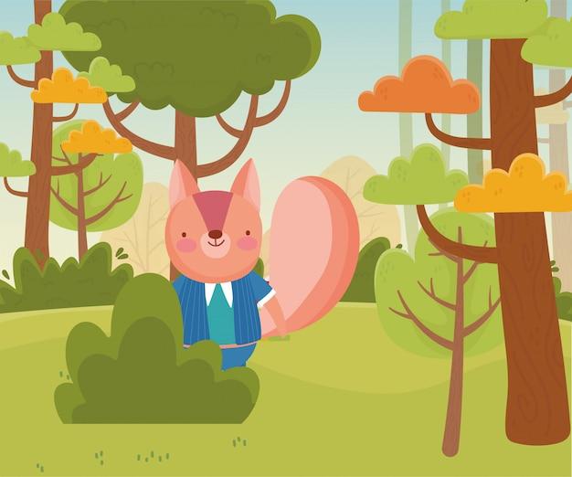 森の葉の自然の中でリス